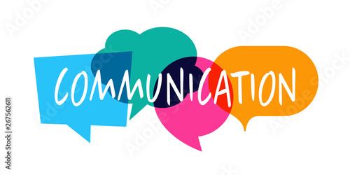 Fotografía  Communication / Word in colorful speech bubble