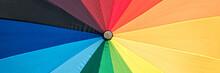 Close-up Of A Rainbow Colored Umbrella