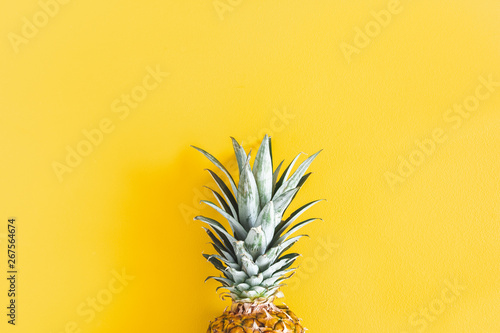 Printed kitchen splashbacks Amsterdam Summer composition. Pineapple on yellow background. Summer concept. Flat lay, top view