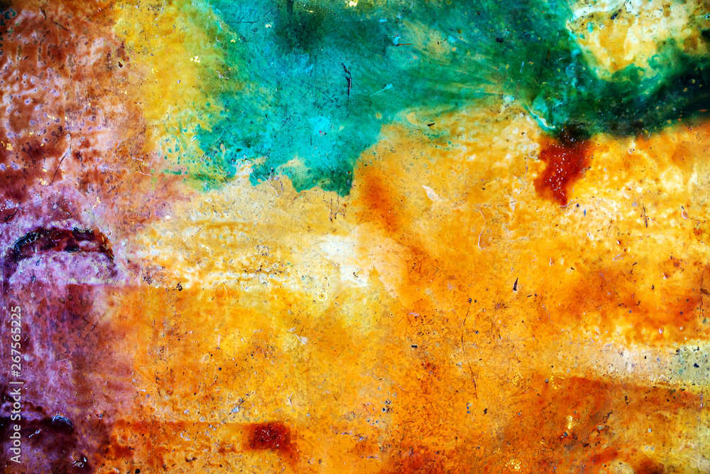 Fototapety, obrazy: Beautiful multi-colored surface of the floor of epoxy resin with wavy streaks on the background