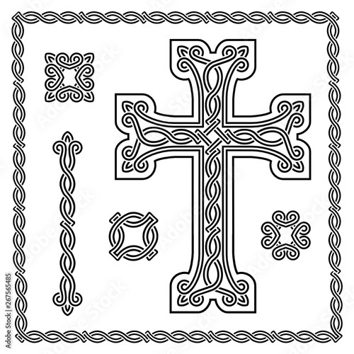 christian cross with interlaced ornament #267565485
