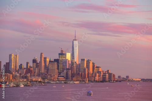 Photo Stands Shanghai New York City midtown Manhattan sunset skyline panorama view over Hudson River