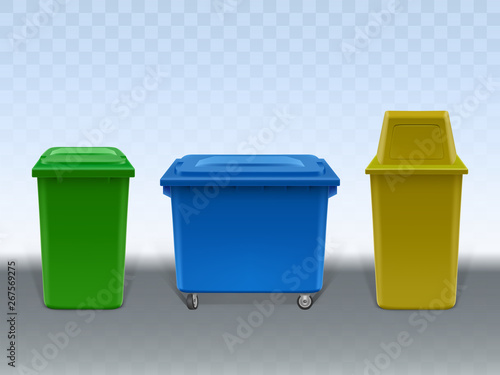 Fototapety, obrazy: Garbage containers set isolated on transparent background. Empty trash cans of various design made of plastic and metal. Street and in-house litter bins. Realistic 3d vector Illustration, clip art.