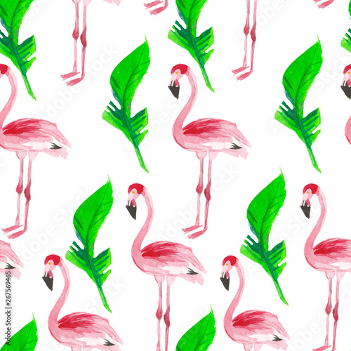 Canvas Prints Flamingo Bird Pattern with pink flamingos and tropical leaves