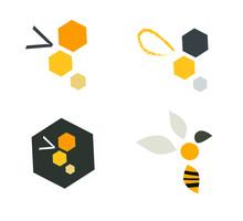 Logo Icone Abeille Stylisée Géométrique Graphique