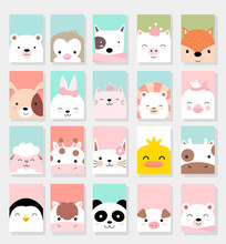 Set Cute Baby Animals With Card For Printing,greeting Card,badge,happy Birthday, T Shirt,banner,product.vector Illustration