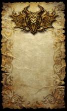 Fantasy Scroll With Gargoyle H...