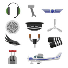 Set Of Aviation Icons. Small Aviation Symbols And Elements Flat Design