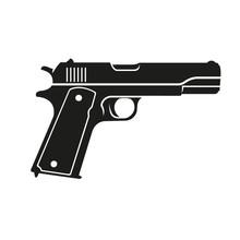 Classic 9mm Pistol Vector Illu...