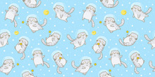 Seamless Pattern With Cute Scottish Fold Cats Astronauts On Starry Space Background