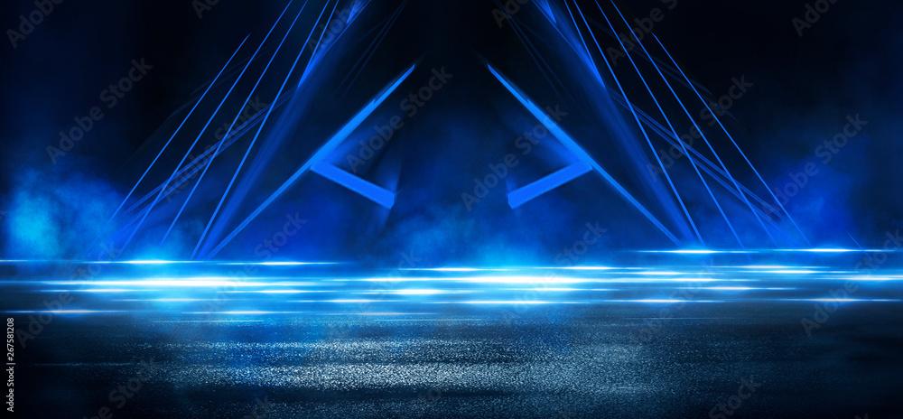 Fototapety, obrazy: Wet asphalt, reflection of neon lights, a searchlight, smoke. Abstract light in a dark empty street with smoke, smog. Dark background scene of empty street, night view, night city.
