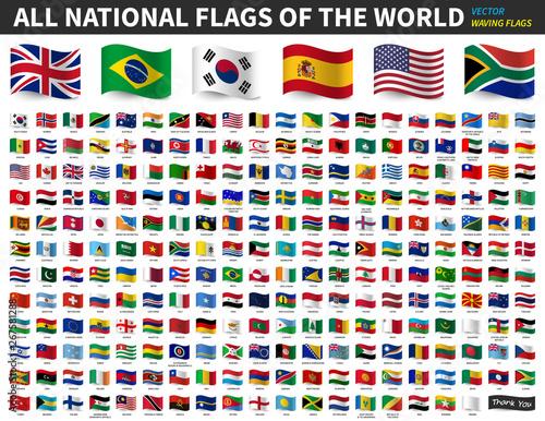 All national flags of the world . Waving flag design . Vector . Fototapete