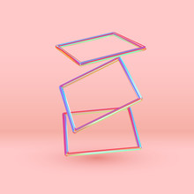 3d Rectangle Shape Objects. Minimal Abstract Background With Gradient Blue And Pink Color Elements Square Frame Levitation In Space. Poster With Realistic Geometric Volumetric Shapes