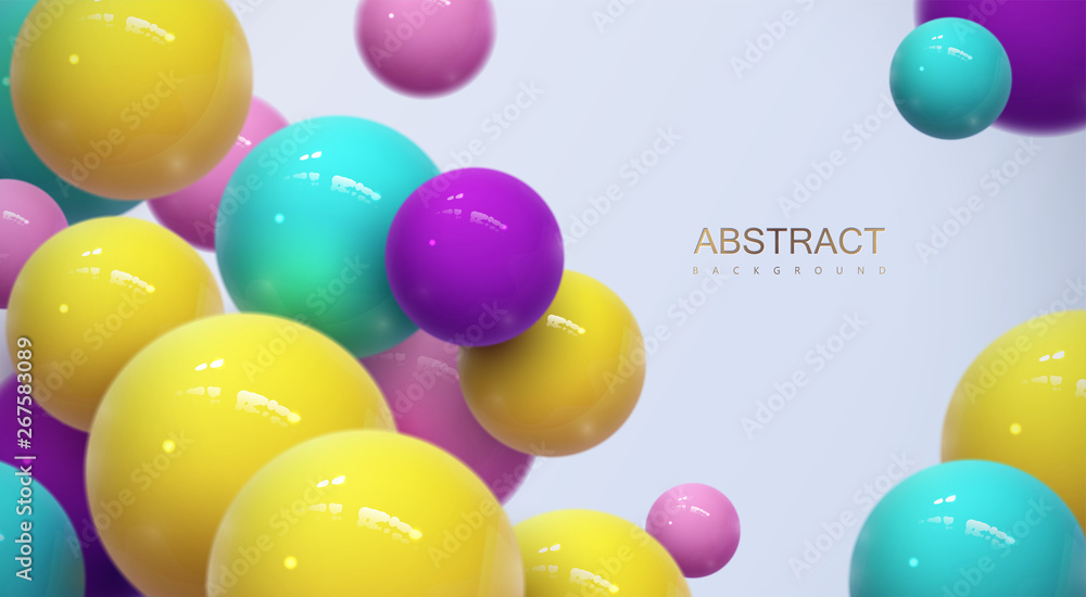 Fototapety, obrazy: Abstract background with dynamic 3d spheres
