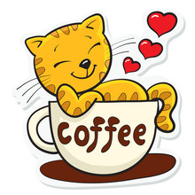 A Sticker, A Cat Likes Coffee, A Contented Red Cat Sits In A Coffee Cup, A Colored Drawing, A Black Outline, A Sticker For A Cup, A T-shirt, For Printing.