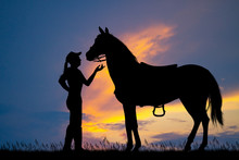 Illustration Of Girl And Horse At Sunset