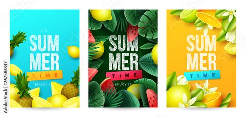 Fotografie, Obraz  Summer background with fruits. Vector illustration