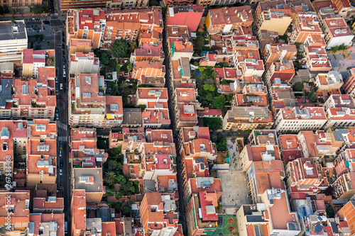 Poster Graffiti Aerial view of Barcelona architecture, high angle view of the city typical urban grid, Spain