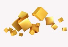 Abstract Background With 3d Cubes Gold Color.