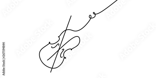Fotografía Violin continuous one line drawing minimalism design on white background