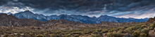 Panoramic Shot Of Alabama Hills Wih Cloudy Sky