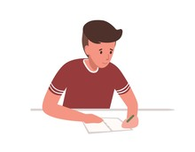 Cute Young Boy Sitting At Desk And Writing School Test Isolated On White Background. Student Preparing For Exams At University Or Studying. Colorful Vector Illustration In Flat Cartoon Style.