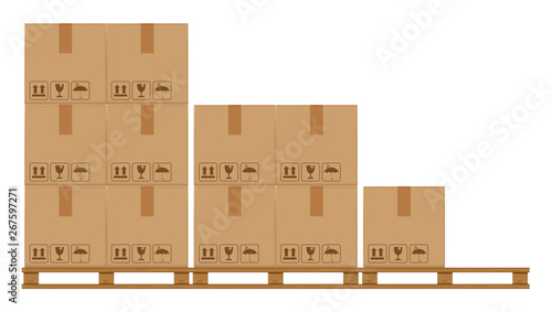 Cuadros en Lienzo crate boxes on wooded pallet, wood pallet with cardboard box in factory warehous
