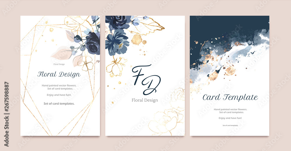Fototapeta Set of card with flower rose, leaves. Wedding navy blue and gold concept. Floral poster, invite. Vector decorative greeting card or invitation design background