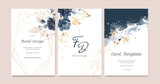 Fototapeta Kwiaty - Set of card with flower rose, leaves. Wedding navy blue and gold concept. Floral poster, invite. Vector decorative greeting card or invitation design background