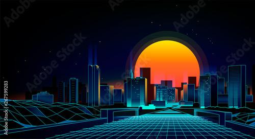 Fototapeta night city landscape obraz na płótnie