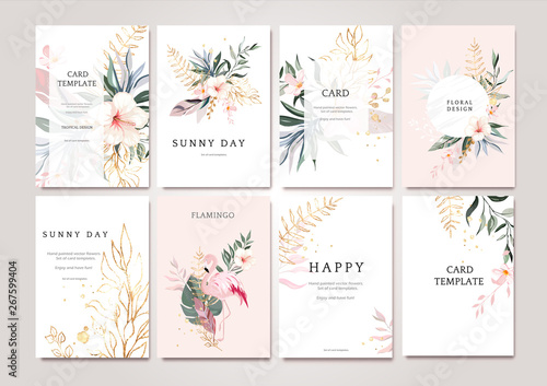 Obraz Set of card with exotic green, gold leaves and flowers. Tropical Wedding concept. Floral poster, invite with flamingo. Vector decorative greeting card or invitation design background - fototapety do salonu