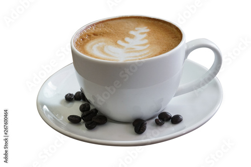 Coffee cup on wooden table isolated on white background with clipping path. Business time with coffee, Coffee cup for product display, free copy space. Industrial food, drink background concept. - 267600464
