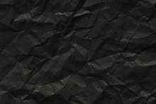 Black Paper Texture Background, Crumpled Pattern