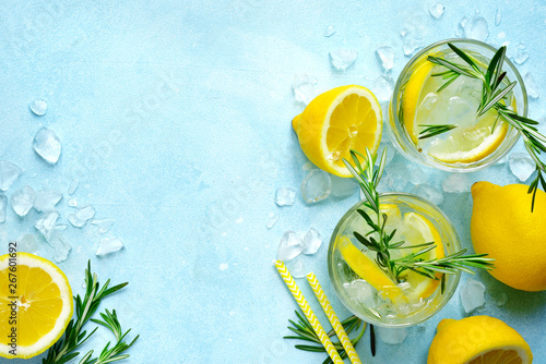 Fotomural Summer citrus cocktail or lemonade with rosemary