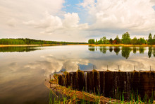 Calm Lake Surrounded By Spring...