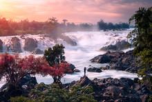 One Man Photographer At Khon Phapheng Waterfall