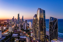 Sunset View Of Surfers Paradise On The Gold Coast Looking From The South
