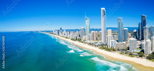 Panoramic view of sunny Surfers Paradise on the Gold Coast looking from the North