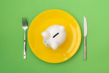 Plate With Piggy Bank On Green Background