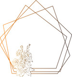 Fototapeta Dinusie - Gold roses frame, flowers drawing and sketch with line-art on white backgrounds.