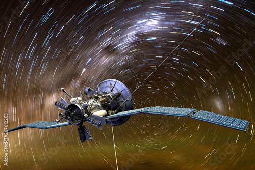 Fotomural 3D rendering of a satellite aginst star trails