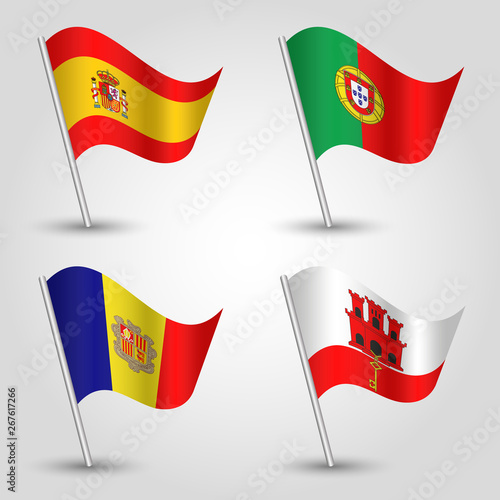 vector set of waving flags southwestern europe on silver pole - icon of states s Wallpaper Mural