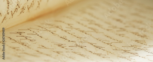Fototapeta closeup of old handwriting; vintage paper background obraz