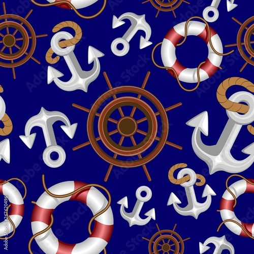 In de dag Draw anchor, knot, lifebuoy, buoy, blue, elements, nautical elements, marine elements, navy, pirate, rope, icons, concept, design, sea, cruise, ocean, ship, boat, adventure, lifestyle, blue, captain, maste