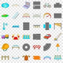 Asphalt Icons Set. Cartoon Style Of 36 Asphalt Vector Icons For Web For Any Design