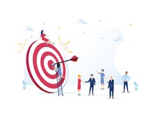 Business Vision, Big Target With People, Teamwork, People Run To Their Goal, Move Up Motivation, Target Achievement