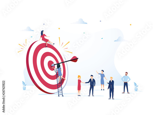 Business Vision, big target with people, teamwork, people run to their goal, mov Canvas Print