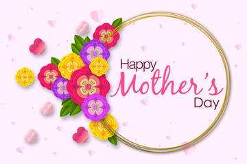 Mother's day layout design with colorful blossom flowers. Best mom/mum ever cute design for menu, flyer, card