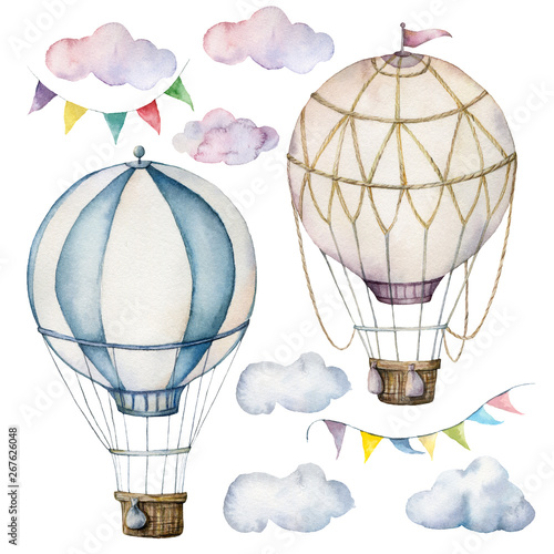 Fotografie, Obraz Watercolor set with hot air balloons and garland