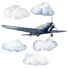 Watercolor Set With Airplane And Clouds. Hand Painted Sky Illustration With Aircraft Isolated On White Background. For Design, Prints, Fabric Or Background.